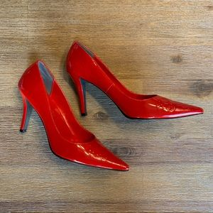 Michael Shannon Red Patent Pointy Toe Heels